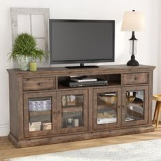 Sainte-Rose Solid Wood TV Stand for TVs up to 60 inches – modern farmhouse decor living room Farmhouse Tv Stand, Farmhouse Decor, Modern Farmhouse, Classic Furniture, Cool Furniture, Furniture Outlet, Wooden Furniture, Furniture Dolly, Inexpensive Furniture