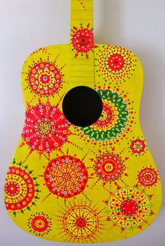 Yellow Painted Guitar Kaleidoscope Pattern by BeesCuriosityShoppe, $345.00