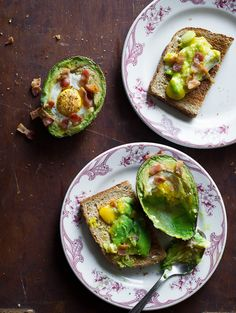 Baked Eggs in Avocado with Bacon, on Toast - I would skip the bacon (even though bacon makes everything better)