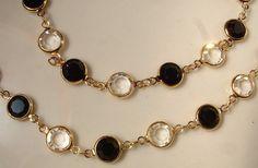 Vintage Signed Swarovski Black & Clear Crystal Bezel Set Gold Link Chain Necklace Opera Length