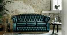 Westminster antique blue Chesterfield Bank, Westminster, Love Seat, Couch, Antiques, Blue, Furniture, Home Decor, Antiquities