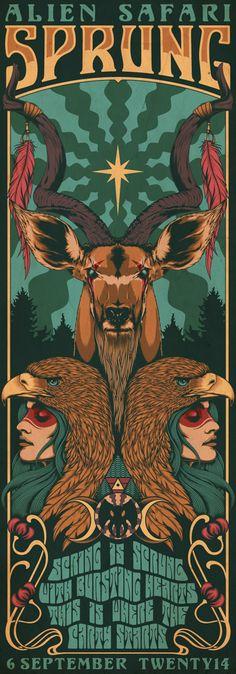 Artwork for Alien Safari's Annual Spring Music Festival - SPRUNG 2014.