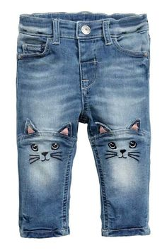 Embroidered jeans  5-pocket jeans in washed stretch denim with an  adjustable elasticated waist a272f0ed84