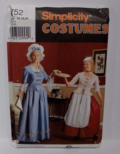 Simplicity 8752 is a women's Costumes Pattern  for Colonial America Plus Size 16-20 from Betsy Kelly!