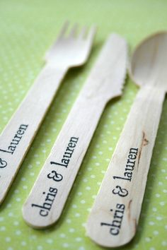 Disposable and Compostable Wooden Utensils Cutlery Greenware - Imprinted Knife Fork Spoon - Eco Natural - 100 sets. $104.50, via Etsy.