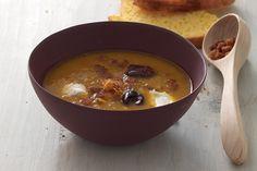 Zuppa di zucca al profumo di mandarino con gamberi rossi