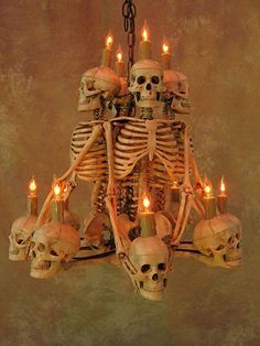 Skeleton Chandelier, w Four 33 inch Skeletons #indoorhalloweendecorations #halloweenstuff