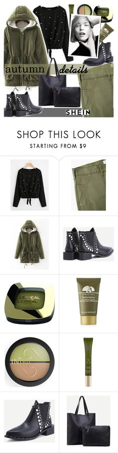 """""""Autumn details from SHEIN"""" by fashiondiary5 ❤ liked on Polyvore featuring MANGO, L'Oréal Paris, Origins, INIKA, Rituals and shein"""