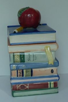 Books and Apple Cookie Jar