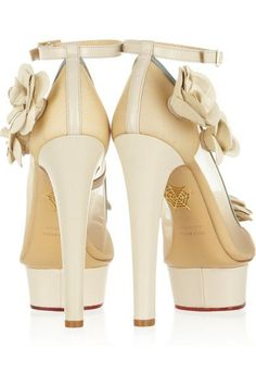 Charlotte Olympia - Flora Leather And Mesh Pumps - Ivory - IT37.5