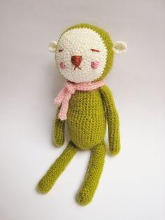 Hiro  The sleepy bunny Green by Pfang on Etsy