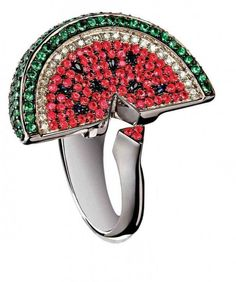 Watermelon ring in 18K white gold, diamonds, pink and blue sapphires, and tsavorites by Cris Porto for Gustavo Rosa