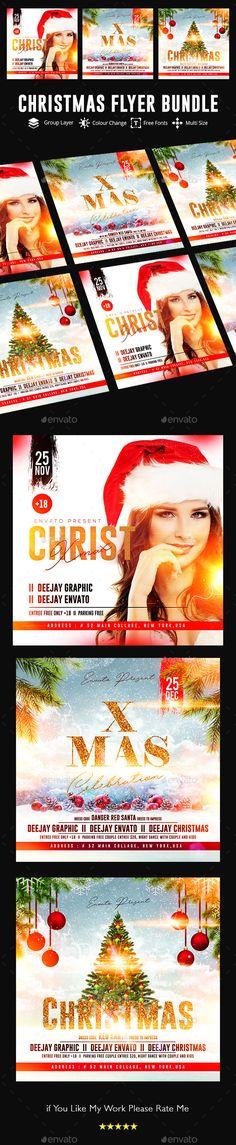Merry Christmas Flyer Bundle — Photoshop PSD #new year #xmas Christmas Flyer Template, Merry Christmas, Xmas, Event Flyers, Creative Resume Templates, Party Flyer, Flyer Design, Photoshop, Social Media