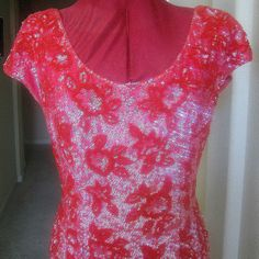 Vintage 1960s British Colony Hong Kong Red and Hot Pink Beaded & Sequin Evening Gown by MyVintageJewels, $265.00