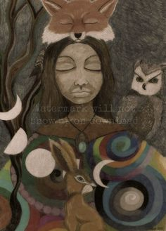 Wild Woman Spirit Animal Artwork. Download the Prints por TRaewyn