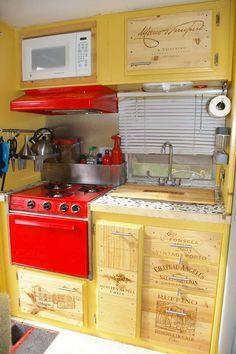 Wine box drawer fronts, brilliant. Vintage camper
