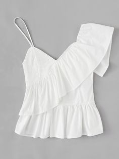 White Solid Ruffle Trim Asymmetrical Shoulder Top Camis Women Summer Vest Tops Clothes Casual Camisole Color white Size S Casual Outfits, Summer Outfits, Cute Outfits, Beach Dresses, Summer Dresses, Dress Beach, Jeans Boyfriend, Looks Chic, Beachwear For Women