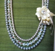 Pearls, Sparkles and Vintage Flower