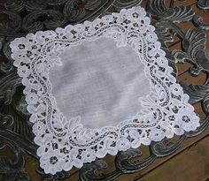 antique lace hankies | ... Heart Antique Linens -Antique Linen Belgian Duchesse Lace Handkerchief