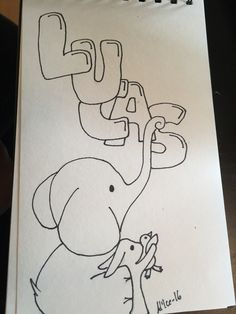 Name sign Lucas  Elephant and bunny