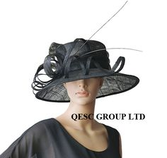 f53d2e7218f black Large brim Sinamay Hat with ostrich feather spine Sinamay Hats