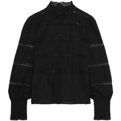 Étoile Isabel Marant Ria lace-trimmed cotton-voile blouse ($475) ❤ liked on Polyvore featuring tops, blouses, black, cotton voile blouse, boho blouse, lace trim top, bohemian tops and bohemian blouses - tops and blouses 2015, womens striped blouse, grey blouses shirts *ad