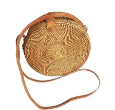 Round Rattan Straw Bag for Women Handwoven Handmade Leather Closure Summer Gift #Handmade #ShoulderBag