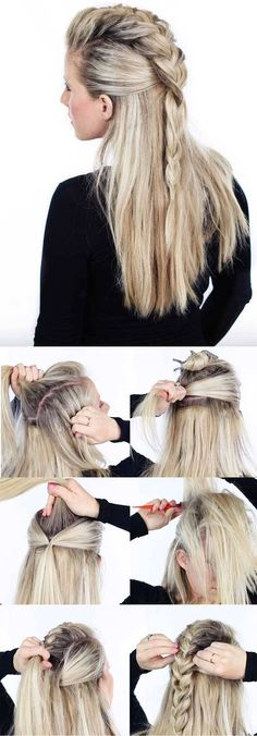 Trenza cocida con cabello suelto