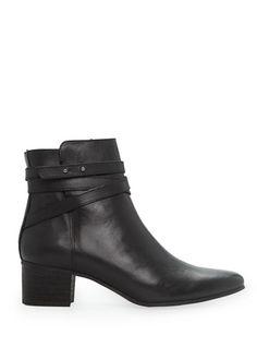 99 euro, Wraparound strap leather ankle boots