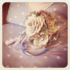 Vintage bookpaper wedding bouquet with pearls lace by AnnataTesoro, £75.00