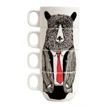Hand painted set of 4 Coffee cups - Mr Bear