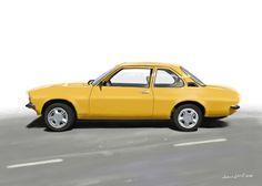 Opel Ascona B 1,6S 1978. Painting by Jonas Linell 2016.