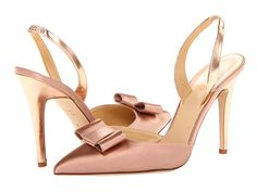 KATE SPADE Levana Too Slingbacks Rose Gold Satin/Rose Gold Specchio $295 BEST PRICE!
