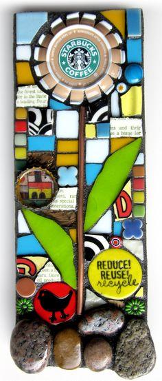 REDUCE. REUSE. RECYCLE.  handmade original starbucks coffee cap flower mosaic mixed media art assemblage