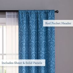 "VCNY Villa 84"" Damask 4-Panel Window Curtains Rod Pocket Drapes Printed & Sheer Set, Blue Window Curtain Rods, Window Panels, Window Curtains, Damask Curtains, White Sheer Curtains, Blue Colour Palette, Rod Pocket, Villa, Windows"