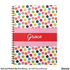 Red and Pink Polka Dot Personalized Note Book #customnotebook #girlsnotebook #girlsgift #preppy