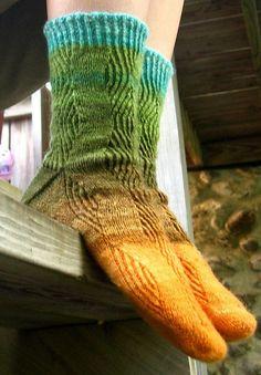 Ravelry: Refractive Socks pattern by Kristy Howell. What fun socks!