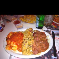 Shrimp etoufee, red beans and rice, jambalaya - at the French Market restaurant New Orleans