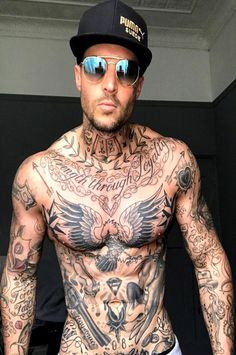 Tattoos And Body Art full body tattoo man Hot Guys Tattoos, Badass Tattoos, Trendy Tattoos, Sexy Tattoos, Neck Tattoo For Guys, Wing Tattoos, Tattoos Torso, Body Art Tattoos, Full Body Tattoos