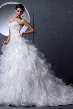 Lace Fabric Crystal Organza Beaded Belt Misses Cascading Ruffle Strapless Organza Wedding Dress