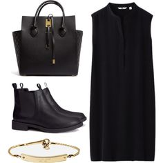 MINIMAL + CLASSIC: BLINE-, created by eldianna // All black chic+ Gold details outfit