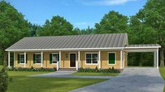 This attractive Ranch house plan comes with a 57' wide front porch and a screened porch in back.The simple gable roof and rectangular foundation shape make the house easy to build since it has no complex angles.Open concept living gives you a beautiful flow and makes the space feel even larger.There's a craft room tucked away on the side with windows on two walls for extra light.Each of the three bedrooms gets a walk-in closet and the master bedroom has two.Carport parking on the right side ... Simple Ranch House Plans, New House Plans, House Floor Plans, Building A Porch, Metal Building Homes, Building A House, Building Ideas, Building Plans, Building Design