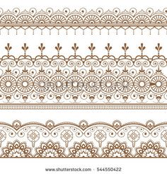 Mehndi Henna line lace element with circles pattern in Indian style for card or tattoo