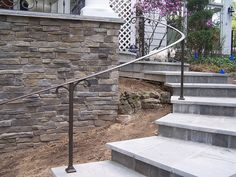 Wrought Iron Handrails For Outside Steps Porch Handrails, Exterior Handrail, Outdoor Stair Railing, Iron Handrails, Patio Stairs, Wrought Iron Stair Railing, Staircase Handrail, Iron Railings, Banisters