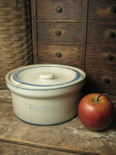 Great Grandma's Old Farmhouse Kitchen Stoneware Butter Crock w. Lid – Blue and White  #HannahsHouseAntiques #Primitives  http://www.rubylane.com/item/497177-9173/Great-Grandmax92s-Farmhouse-Kitchen-Stoneware
