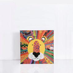 rainbow lion original artwork collage on canvas  wild african