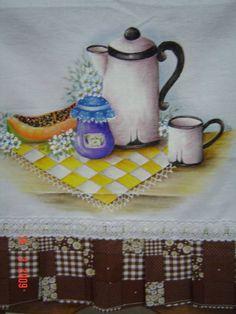 Pano de prato com bule | Leda e Jô - Arte em Tecido | 14174E - Elo7
