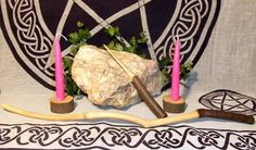 Copper Beech wooden Wand, Athame & Candle holders Altar set handcrafted Altar tool Pagan Wiccan Witch