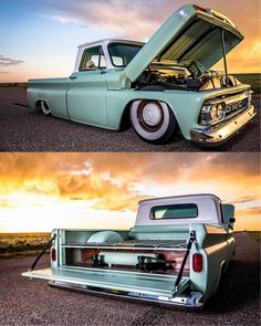 1964-66 Chevy C10 in a sea foam green and slammed to the ground.