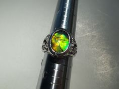 Canadian Ammolite Sterling Silver Ring Was 7500 on by FireAgates, $65.00